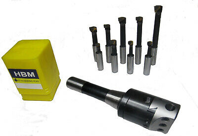 Rdgtools 2Mt Silver Boring Head Kit Milling Lathe Metric + 9Pc 12Mm Tools