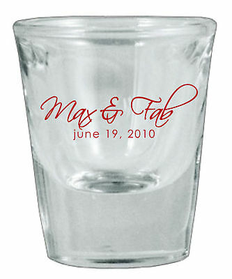48 Personalized Glass Wedding Favor Shot Glasses NEW