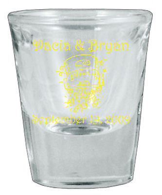72 Personalized Glass NEW Wedding Favor Shot Glasses