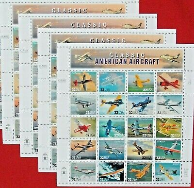 NEW 100 (5 x 20) CLASSIC AMERICAN AIRCRAFT 32 ¢ Cent US PS Postage Stamps # 3142