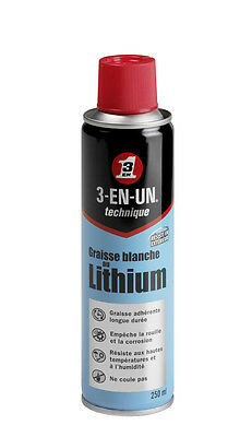 Graisse Blanche au Lithium 3-EN-UN Technique 250ml - Lubrification longue duree