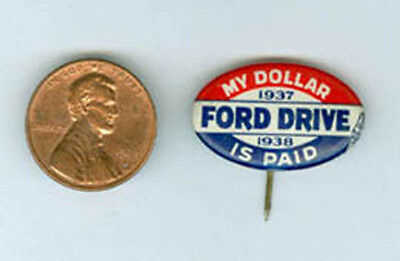 Old Ford Auto Pin Back 1937/38 Unused Near Mint Ad35