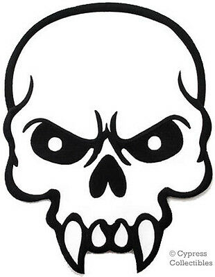 MEAN SKULL iron-on embroidered PATCH FANGS POISON LARGE SKELETON BIKER VEST SIZE