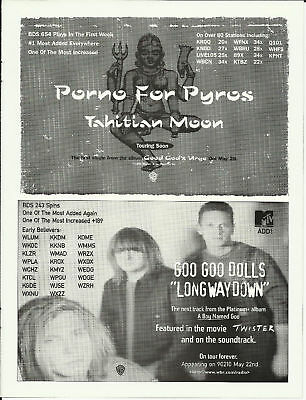 Goo Goo Dolls PORNO FOR PYROS Trade Ad POSTER for 96 CD