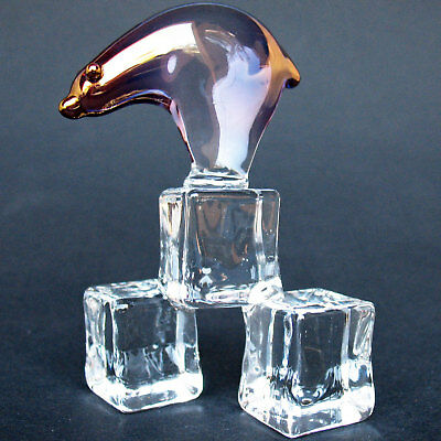 Polar Bear on Ice Figurine of Hand Blown Glass 24K Gold
