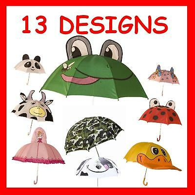 Childrens Kids Novelty Umbrella Frog Fairy Camo Monkey
