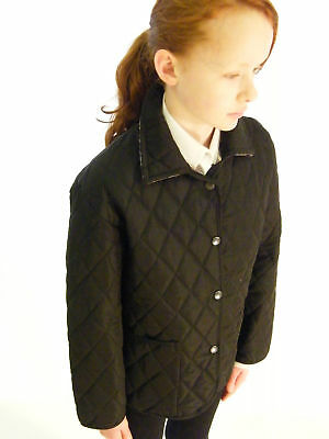 Campbell Cooper Brand New Girls Fitted Black Quilted Riding Jacket Coat 12-13 yr