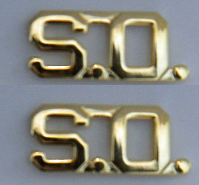 GOLD Special Security Officer S.O. SO Collar Brass Pins