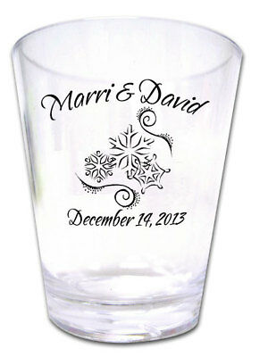 100 PERSONALIZED Snowflake Wedding FAVORS Plastic Shot Glasses