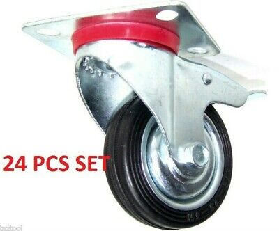 """24 Pcs 3"""" Caster Wheels With Base Wheel With Brakes Bearings Swivel Rubber Tire"""