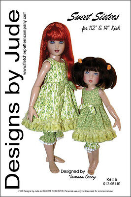 "Sweet Sisters Dress Doll Clothes Sewing Pattern for 12"" Bethany 14"" Kish"