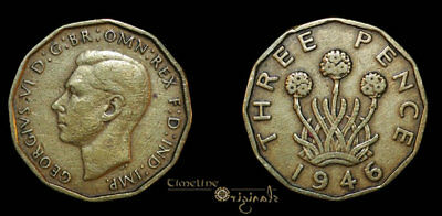 George Vi Milled Nickle Brass Threepence Coin 014809