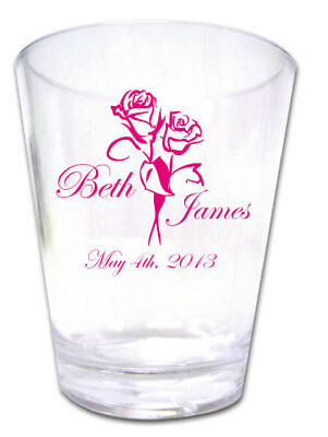 100 PERSONALIZED Custom Roses Wedding FAVORS Plastic Shot Glasses