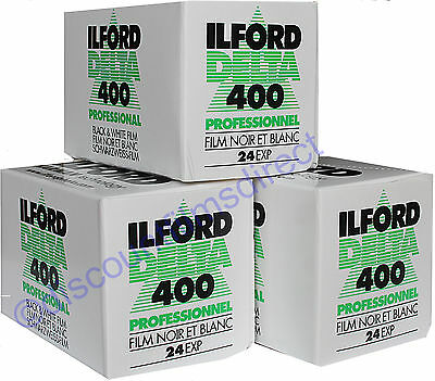 3 x ILFORD DELTA 400 35mm 24exp BLACK & WHITE CAMERA FILM  by 1st CLASS POST