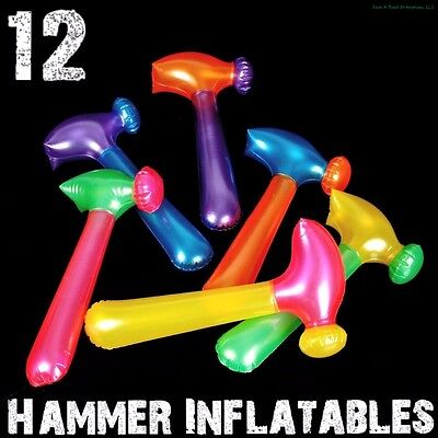 (12) Neon Hammer Tool Inflatables ~ Blow Up Pool Party Fun Kids Toy Game Favors