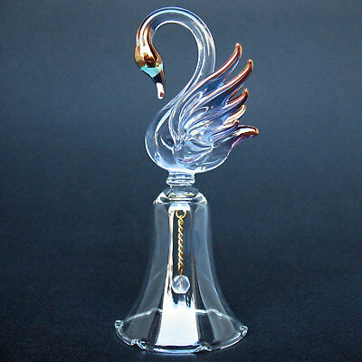 Swan Bell Figurine of Hand Blown Glass with 24K Gold