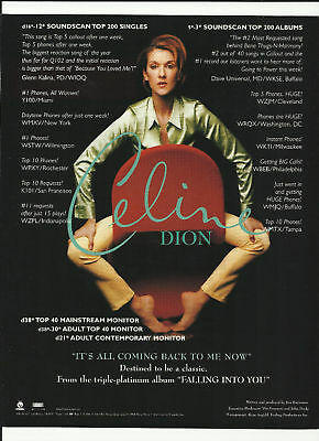 CELINE DION It's All Coming Trade Ad POSTER for Falling