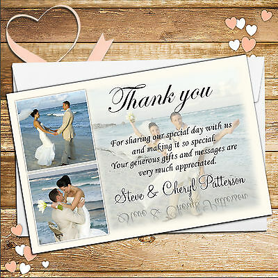 50 Personalised Wedding Day Thank you PHOTO Cards N.35 Inc Envelopes