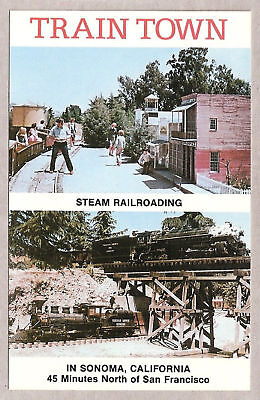 Postcard:  Miniature Trains - Train Town - Sonoma, Ca
