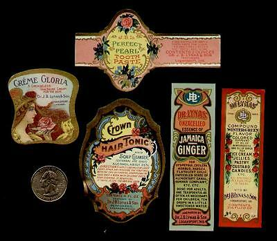5-DIFF BEAUTY MISC. LABELS 1890s / GOLD GLIT - FLOWERS