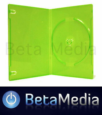 100 x Single Green 14mm Quality CD / DVD Cover Cases - Standard Size Case
