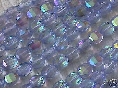 Lilac Blue AB Crystal Fire Polish Czech Beads 8mm 25pc