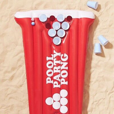 RED Pool Party Pong Beer Raft Inflatable Float ~ 5 x 3 Foot Long - BigMouth Inc