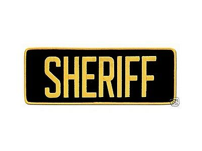 Large Sheriff Back Patch Badge Emblem 11X4 Gold / Black