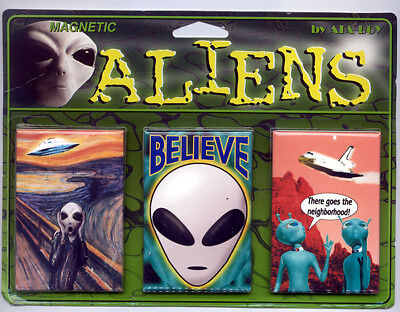 New alien magnet set of 3 magnets aliens spaceship ufo