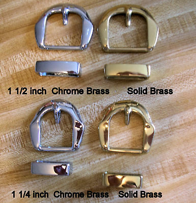 "Belt Buckle Sets, Solid Brass & Chrome, Gold or Silver Color 1 1/2""  1 1/4"""