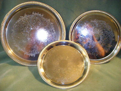"""SET OF 3  SILVERPLATE 11,12 & 14""""ROUND SERVING TRAYS"""