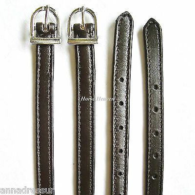 Scan Horse Top Quality Stitched Leather Spur Straps with Nylon Core, Brown