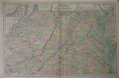 1898 Virginia & West Virginia  Original Color Map**