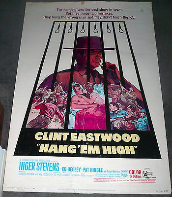 HANG EM' HIGH original 1968 large rolled 40x60 movie poster CLINT EASTWOOD