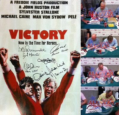 """ESCAPE TO VICTORY 16""""x12"""" MOVIE POSTER PHOTOGRAPH SIGNED BY 7 & PROOF"""