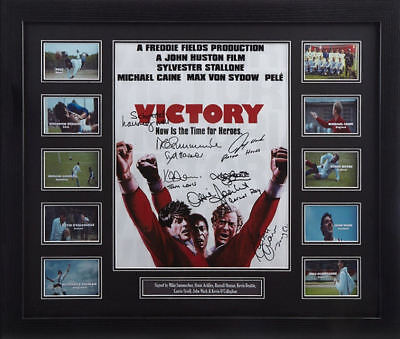 """FRAMED ESCAPE TO VICTORY 16""""x12"""" MOVIE POSTER SIGNED BY 7 COA & PROOF"""