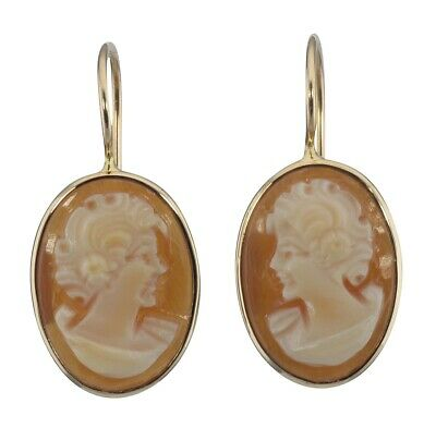 14kt Yellow Gold Classic Hand Carved Italian Oval Dangle Cameo Earrings