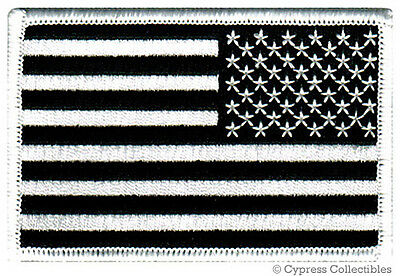 AMERICAN FLAG EMBROIDERED PATCH iron-on BLACK WHITE US REVERSE subdued LEFT new