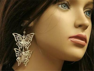 Double Butterfly Filagree Earrings Large Diva Crystal