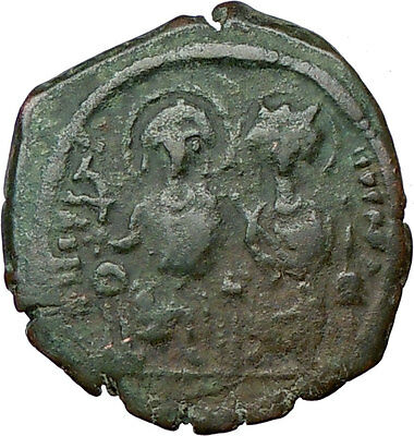 JUSTIN II & Queen Sophia  HUGE Follis Rare Ancient Medieval Byzantine Coin