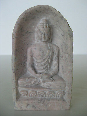 "Stone Buddha ~ 4.25"" Meditating small statue, rock cave"
