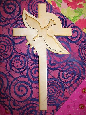 UNFINISHED WOOD CROSS DOVE INSIDE style 15'' tall