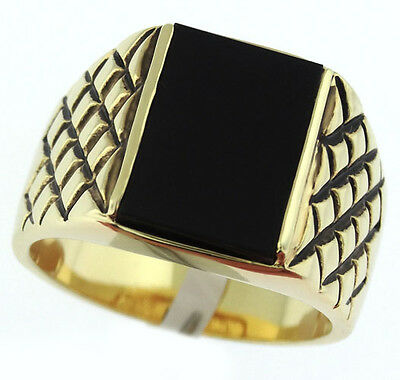 Genuine Jet Black Onyx 18kt Gold Plated Mens Ring New