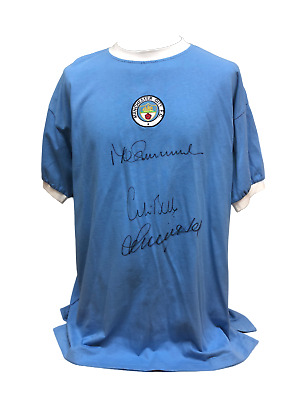 Colin Bell Francis Lee Mike Summerbee Signed Manchester City Shirt See Proof Coa