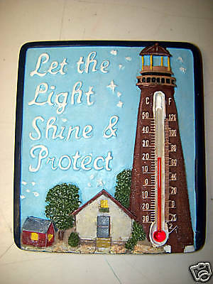 Light House w/ Thermometer. Polystone.