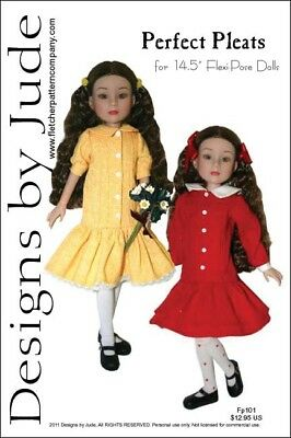 """Pleated Dress Doll Clothes Sewing Pattern 14.5"""" Flexi Pose Agnes, Tonner"""