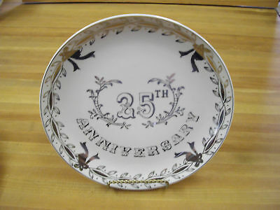 Vintage Lefton Silver 25th Anniversary  Collector Plate