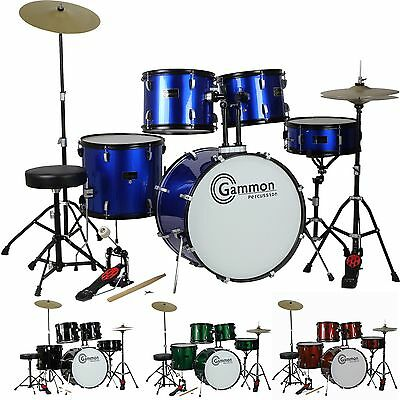 New FULL SIZE 5 Piece Drum Set w Cymbals Stands Stool