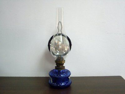 ANTIQUE COBALT BLUE GLASS OIL  LAMP WITH REFLECTOR