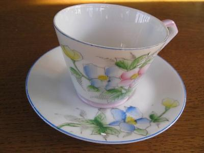 Occupied Japan pink  blue yellow Floral Cup & Saucer
